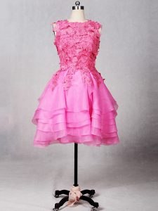 Stylish Scoop Sleeveless Cocktail Dress Knee Length Lace and Appliques and Ruffled Layers Rose Pink Organza