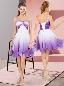 Flirting Asymmetrical Lace Up Cocktail Dresses Multi-color for Prom and Party with Beading