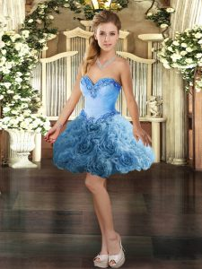 Noble Mini Length Lace Up Cocktail Dress Baby Blue for Prom and Party with Beading