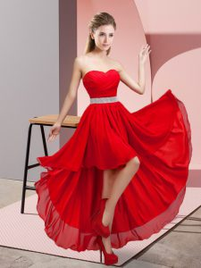 Sweetheart Sleeveless Lace Up Cocktail Dresses Wine Red Chiffon