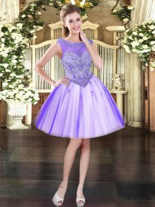 New Arrival Lavender Ball Gowns Scoop Sleeveless Tulle Mini Length Lace Up Beading Club Wear