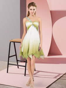 Multi-color Fading Color Lace Up Cocktail Dresses Sleeveless Asymmetrical Beading