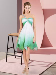Cute Multi-color Fading Color Lace Up One Shoulder Sleeveless Asymmetrical Cocktail Dress Beading