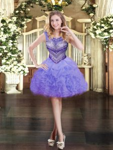 Lavender Ball Gowns Organza Scoop Sleeveless Beading and Ruffles and Pick Ups Mini Length Zipper Cocktail Dress