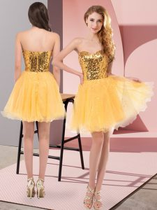 Elegant Mini Length Zipper Cocktail Dress Gold for Prom and Party with Sequins