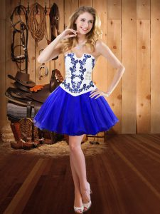 Flirting Ball Gowns Cocktail Dresses Royal Blue Strapless Organza Sleeveless Mini Length Lace Up