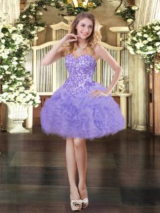 Lavender Sleeveless Appliques and Ruffles and Pick Ups Mini Length Cocktail Dress