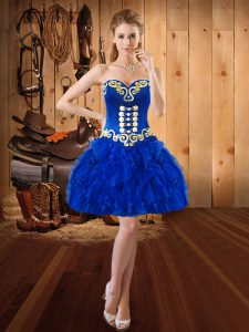 Mini Length Royal Blue Cocktail Dresses Organza Sleeveless Embroidery and Ruffles
