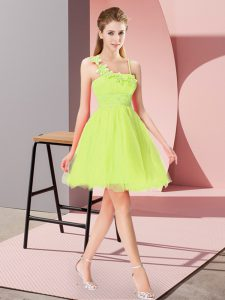 Yellow Green Sleeveless Mini Length Beading and Hand Made Flower Zipper Cocktail Dresses