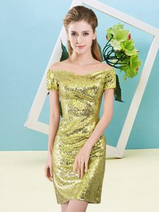 Fantastic Yellow Short Sleeves Sequined Zipper Cocktail Dresses for Prom and Party