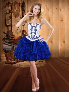 High Class Royal Blue Ball Gowns Organza Strapless Sleeveless Embroidery and Ruffles Mini Length Lace Up Cocktail Dress