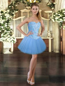 Affordable Baby Blue Ball Gowns Sweetheart Sleeveless Tulle Mini Length Lace Up Beading Cocktail Dresses