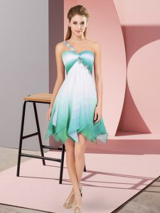 Elegant Multi-color Fading Color Lace Up Celebrity Style Dress Sleeveless Asymmetrical Beading