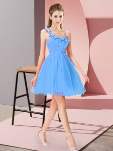 Mini Length Zipper Cocktail Dresses Baby Blue for Prom and Party with Beading and Hand Made Flower