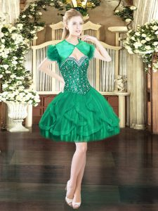 Sweetheart Sleeveless Tulle Cocktail Dresses Beading and Ruffles Lace Up