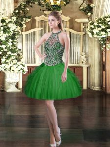 Dark Green Halter Top Lace Up Beading and Ruffles Celeb Inspired Gowns Sleeveless