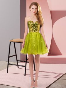 Most Popular A-line Cocktail Dresses Olive Green Sweetheart Tulle Sleeveless Mini Length Zipper