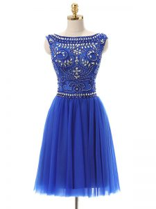 Top Selling Royal Blue Zipper Bateau Beading Cocktail Dress Tulle Sleeveless