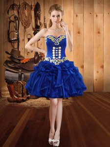 Customized Ball Gowns Club Wear Royal Blue Sweetheart Organza Sleeveless Mini Length Lace Up