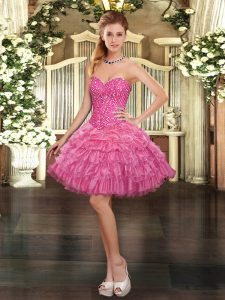 Rose Pink Ball Gowns Beading and Ruffled Layers and Pick Ups Cocktail Dresses Lace Up Organza Sleeveless Mini Length