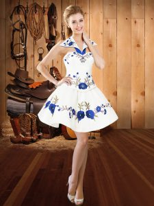 Cute Mini Length Lace Up Cocktail Dress White for Prom and Party with Embroidery