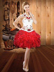 Great Sleeveless Organza Mini Length Lace Up Cocktail Dress in Red with Embroidery and Ruffles