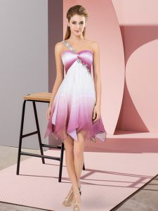 Cheap One Shoulder Sleeveless Lace Up Cocktail Dresses Multi-color Fading Color