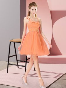 Mini Length Orange Red Cocktail Dresses Asymmetric Sleeveless Zipper