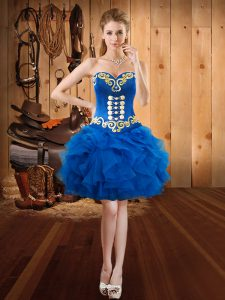 Most Popular Organza Sweetheart Sleeveless Lace Up Embroidery and Ruffles Club Wear in Royal Blue