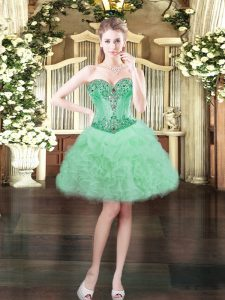 Apple Green Sleeveless Organza Lace Up Cocktail Dress for Prom and Party