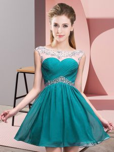 Teal Club Wear Prom and Party and Military Ball with Beading and Ruching Scoop Sleeveless Backless