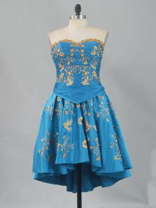 Pretty Blue Lace Up Cocktail Dress Sleeveless Embroidery