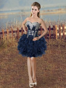 Vintage Mini Length Lace Up Cocktail Dresses Navy Blue for Prom and Party with Beading and Ruffled Layers
