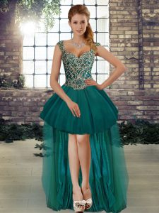 Flirting Dark Green Sleeveless Beading High Low Cocktail Dresses