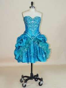 Affordable Mini Length Ball Gowns Sleeveless Teal Cocktail Dresses Lace Up
