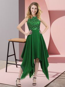 Deluxe Dark Green Sleeveless Asymmetrical Beading and Sequins Zipper Cocktail Dresses