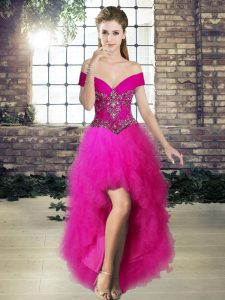 High Low Fuchsia Cocktail Dress Off The Shoulder Sleeveless Lace Up