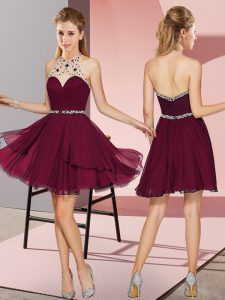 Burgundy Cocktail Dresses Prom and Party with Beading Halter Top Sleeveless Zipper