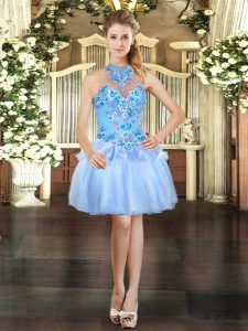 Light Blue Lace Up Halter Top Embroidery Cocktail Dress Organza Sleeveless