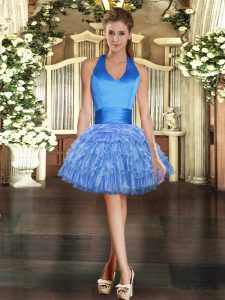 Most Popular Blue Lace Up Cocktail Dresses Beading and Ruffled Layers Sleeveless Mini Length