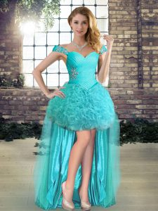 Traditional Beading Cocktail Dress Aqua Blue Lace Up Sleeveless High Low