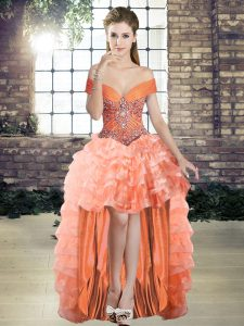Shining Orange Off The Shoulder Lace Up Beading and Ruffled Layers Cocktail Dresses Sleeveless