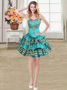 High Quality Teal Sleeveless Mini Length Embroidery and Ruffled Layers Lace Up Cocktail Dress