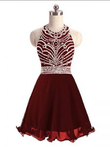 Simple Mini Length A-line Sleeveless Burgundy Cocktail Dresses Lace Up