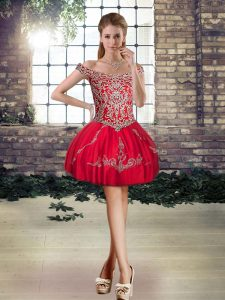 Red Lace Up Off The Shoulder Beading and Appliques Club Wear Tulle Sleeveless