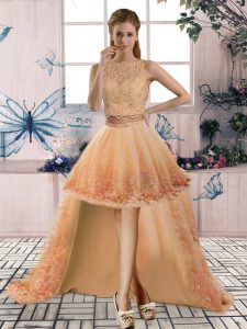 Latest Gold Tulle Backless Cocktail Dress Sleeveless High Low Beading and Lace