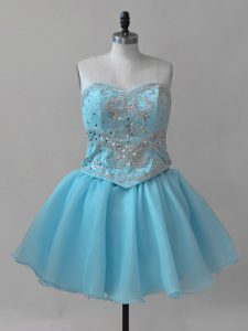 Baby Blue Cocktail Dresses Prom and Party with Beading Sweetheart Sleeveless Lace Up