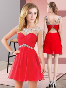 Free and Easy Red Backless Cocktail Dresses Beading Sleeveless Mini Length