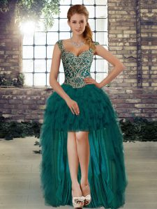 Pretty High Low Lace Up Cocktail Dress Dark Green for Prom and Party with Beading and Ruffles