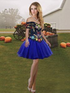 Royal Blue Ball Gowns Tulle Off The Shoulder Sleeveless Embroidery Mini Length Lace Up Club Wear